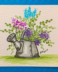 Art Impressions Wonderful Watercolor.  Handmade card with Watering Can, flowers and foliage.