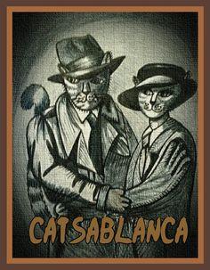 Catsablanca Bergman Film, Artworks, Brown, Drawings, Classic, Prints, Pattern, Image, Derby