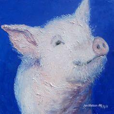 Pig painting, kitchen decor, animal painting, cafe art, farm animal art, original oil by Matson