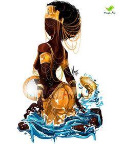 Penny fro by ArtistiklyDivine artwork Black Love Art, Black Girl Art, Art Girl, African Mythology, African Goddess, African American Art, African Art, Oshun Goddess, Orishas Yoruba