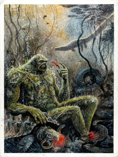"Steve Bissette & John Totleben: ""Swamp Thing"" painted cover for The Comics Journal #93 (1984"
