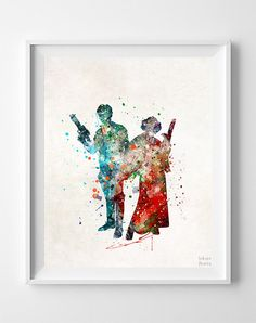 Star Wars Print Han and Leia Watercolor Art Modern by InkistPrints