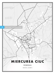 This printable map template of Miercurea Ciuc, Romania with Cityname, Country and Coordinates has been carefully designed to achieve the highest print quality on large posters. There are fine gradatio. Large Posters, Printable Maps, Map Vector, Print Templates, Modern Prints, Romania, Modern Design, Country, Digital