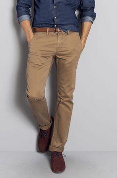 Alliance chemise en Jean et chino beige + ceinture