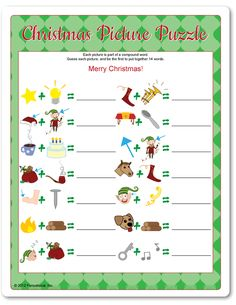 Christmas Picture Puzzle-Lots of game ideas! Christmas Family Feud, School Christmas Party, Christmas Trivia, Christmas Puzzle, Christmas Party Games, Office Christmas, Xmas Party, Christmas Activities, Christmas Printables