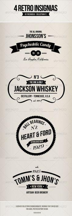 4 Retro Insignias - Badges #GraphicDesign #vintage