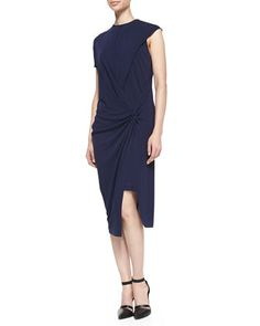 Helix Twisted Draped Jersey Dress by Helmut Lang at Bergdorf Goodman.