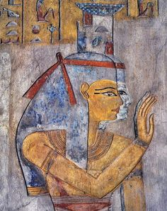 Valley of the King in Luxor's Tomb of Tausert,the wife of Siptah:wall paintings showing goddess Isis and Nephtys.