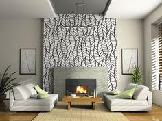 Papel mural moderno, blanco y negro sobre chimenea, living
