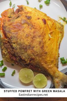 Stuffed Pomfret with green masala is a wonderful way to eat fish. The green masala is made with a blend of coriander, onions, coconut, and spices then stuffed in the fish and pan-fried until golden on both sides #fish #pomfret #stuffed #stuffedfish #EastIndian #pokfretfish #stuffedpomfret Fish Recipes, Beef Recipes, Cooking Recipes, Indian Prawn Recipes, Tandoori Fish, Pickled Eggplant, Stuffing Ingredients, Potato Patties