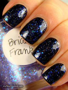 Bride of Franken. I like the black under the blue glitters. It looks like a starry night.