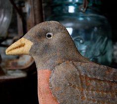 Primitive Spring American Robin Bird Digital by rockriverstitches: