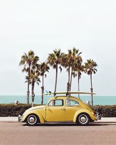 Adler Yellow VW bug in Oceanside, California Printed on Hahnemuhle Photo Rag 308 Free domestic shipping on all orders Right this way for more details Beach Vibes, Summer Vibes, Summer Beach, Happy Summer, Ocean Beach, Spring Summer, Cute Cars, Car Photography, Photography Studios
