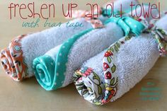 LOVE this - with a little bias trim any old kitchen rag or wash cloth will look so fresh!  freshen-up-an-old-towel-with-bias-tape