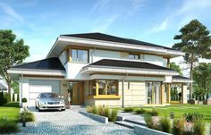 Dom z widokiem 5 Home Fashion, Home Projects, Bungalow, House Plans, House Design, How To Plan, Mansions, Interior Design, House Styles