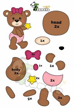 Felt Animal Patterns, Stuffed Animal Patterns, Scrapbook Patterns, Craft Patterns, Bear Crafts, Felt Mobile, Foto Baby, Felt Decorations, Printable Crafts