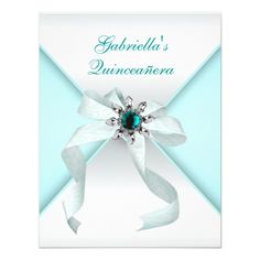 Teal Blue Quinceanera Card
