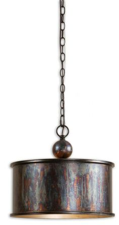 Cool industrial drum pendant from Uttermost