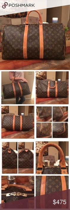 AUTHENTIC LOUIS VUITTON KEEPALL 45 TRAVEL BAG 100% Authentic Louis Vuitton Keepall 45 Boston Travel Bag. Travel with style and luxury. Beautiful vintage bag Monogram canvas has no scratches or tears. Vachetta Leather has wear and stains. Handles have scratches, discoloration and show wear as well but still strong and have no cracks 👍🏻 firmly attached to the bag. Some wear on corners but no exposed piping 👌🏼Inside is clean. Zipper works properly. Hardware is in good condition…