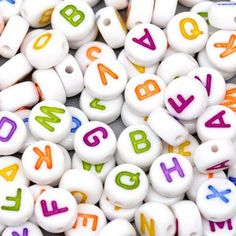 100pcs Mixed Alphabet / Letter Acrylic Spacer Beads 7mm/Hole 1mm for Craft