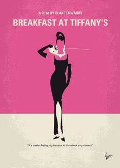 No204 My Breakfast at Tiffanys minimal movie poster  A young New York socialite becomes interested in a young man who has moved into her apartment building.  Director: Blake Edwards Stars: Audrey Hepburn, George Peppard, Patricia Neal  Breakfast, Tiffanys, New York, NY, Holly, Golightly, Audrey, Hepburn, Manhattan,