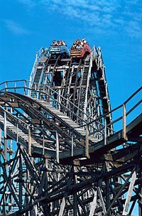 """Visit Cedar Point - Sandusky, Ohio , the Roller Coaster capitol of the world! I rode a lot of miles on this old coaster, the """"Blue Streak"""" in my teen years. Cedar Point Sandusky Ohio, Cedar Point Ohio, Best Roller Coasters, Best Amusement Parks, Carnivals, Water Slides, Wonderful Places, Cleveland, Carnival Rides"""