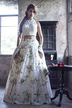 This stunning white crop top lehenga skirt is by Natasha Dalal #Frugal2Fab