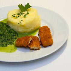 Fischstäbchen mit Spinat und Kartoffelbrei