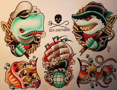 Sebastian domaschke sea shepherd tattoo flash