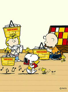 Snoopy, Woodstock and Friends, Charlie Brown and Sally Browsing Through Records and Listening to Music