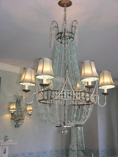 aqua glass chandelier   The amazing aqua sea glass chandelier and sconces -