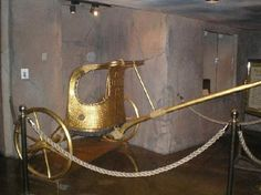 King Tutankhamun's golden chariot, found in one of the chambers of his tomb by Howard Carter 1922.
