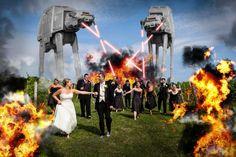 A fun photo idea for Star Wars lovers.  Photographer was John Schlia Photography.