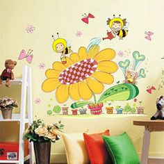 New Arrival Bees with Sunflower Wall sticker Honey bee world Vinyl decal Removable For kids Decor Size 45x60cm Free Shipping