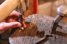 Stamping the rings with the Benjamin Black hallmark.