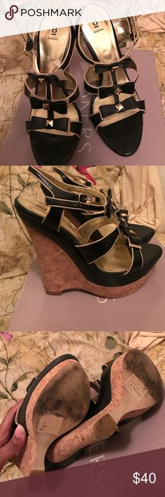 Bakers black/gold wedgehill Semi use baker Wedgehill black/gold sandal. Great with jeans shorts or dress. Bakers Shoes Wedges