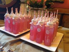 Baby Shower Ideas- make water bottles look like bottles