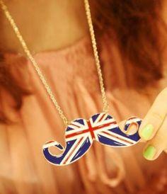 Fashion British Flag Mustache Shaped Pendant Necklace