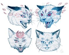 Mystical Cat sketches for tattoos - drawn by Ashley Sansoucie