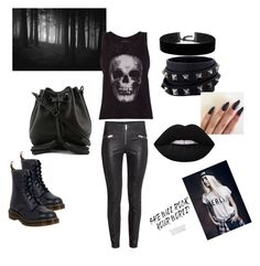 """""""Untitled #20"""" by esefa-husarkic ❤ liked on Polyvore featuring ElevenParis, Dr. Martens, Rebecca Minkoff, Valentino and Lime Crime"""
