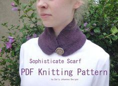 Sophisticate Scarf PDF Knitting Pattern Easy Knit by Girlpower, $2.50