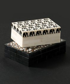 Love this White & Black Bone Elephant Trinket Box on #zulily! #zulilyfinds