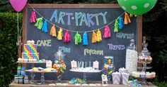Nancy O'Dell's summer soiree ART PARTY  where the youngest guests could keep busy and get creative. See more of this fun event styled by Kristin Alber and Good Carma Studio at REstyleSOURCE.