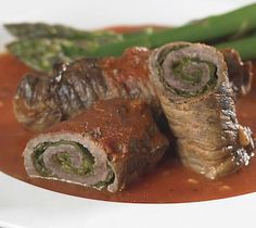 Beef Rouladen stuffed with Spinach and Asiago Cheese. note: to keep this low carb use no added sugar products or sugar free products.