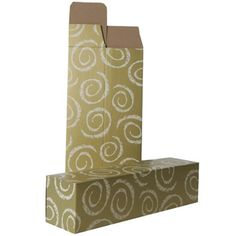 Gold Wine Boxes With White Swirls - 3 1/4 x 3 1/4 x 13 1/4 - 100 per pack - http://www.specialdaysgift.com/gold-wine-boxes-with-white-swirls-3-14-x-3-14-x-13-14-100-per-pack/