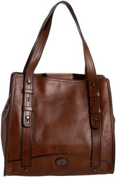 <3 rich brown leathers fossil leather tote, fossil vintag