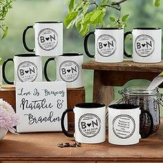Buy wedding favor coffee mugs & add your own text! Perfect for weddings & bridal showers. Quantity pricing available. Free personalization & fast shipping.