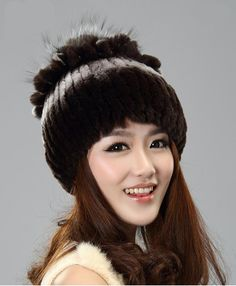 H926-fashion new autumn  knitted natural  rex rabbit  fur  beanies with flower women's fashion winter russian fur hat