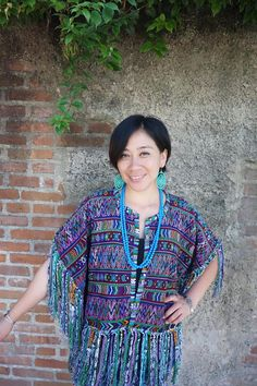 Stunning Maya Woman's Vintage Geometric Huipil Boho Poncho Fringed Cape from Guatemala