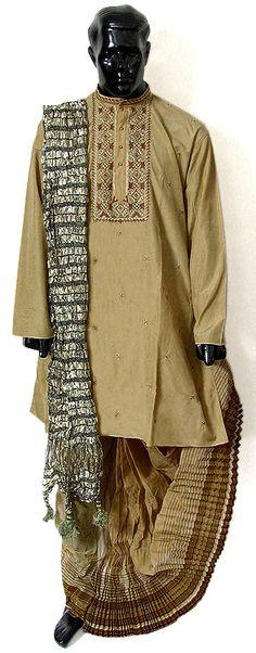 Silk Embroidered Kurta, Cotton Dhoti (Pyjama type), Check Chunni (Silk Cotton) -- Bengali (Indian) style